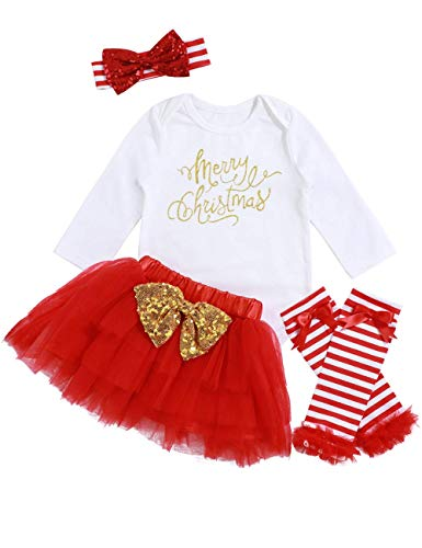 f9341958b0f Samoy Baby Girls Christmas Costume Merry Christmas Bodysuit Bow Sequins  Headband Leg Warmer Tutu Dress up