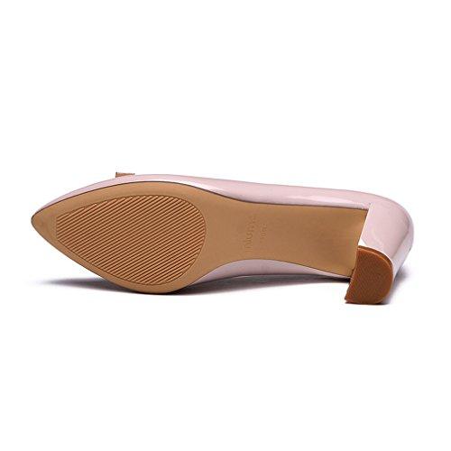 respirare di PU in pelle sera Comfort lucido Unknown Aspetto a Scarpe punta blocco metallico pompe Donna Tacchi brevetto rosa lavoro punta alti FwHaxw