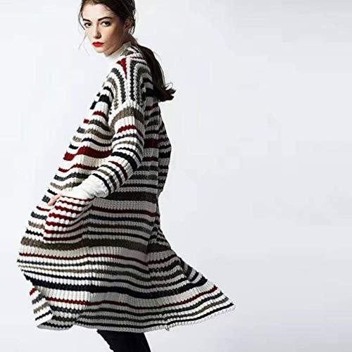 Manica A Maglioni 3 Lunga Pullover Stripe Moda Anteriori Comodo Stil Elegante Autunno Tasche Maglia Giovane Donna Giacca Maglieria Di 6Uqn5xz