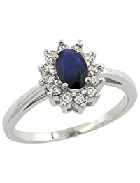 10K White Gold Natural Blue Sapphire Flower Diamond Halo Ring Oval 6x4 mm, sizes 5 10
