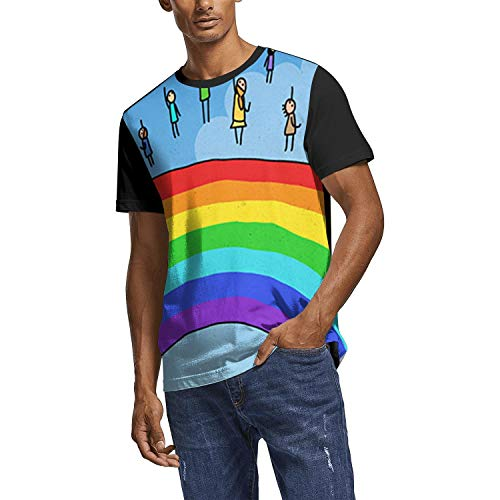 3D Print Mens T Shirt Graphic Fitness Gay Pride Rainbow Header Poster White Short Sleeve T-Shirts Tee