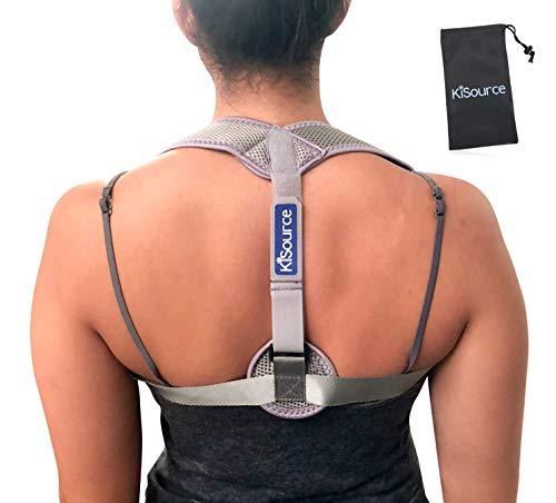 Back Posture Corrector for Men & Women | Comfortable & Discrete (Grey) Back Brace Provides Neck & Back Pain Relief | Improves & Straightens Posture