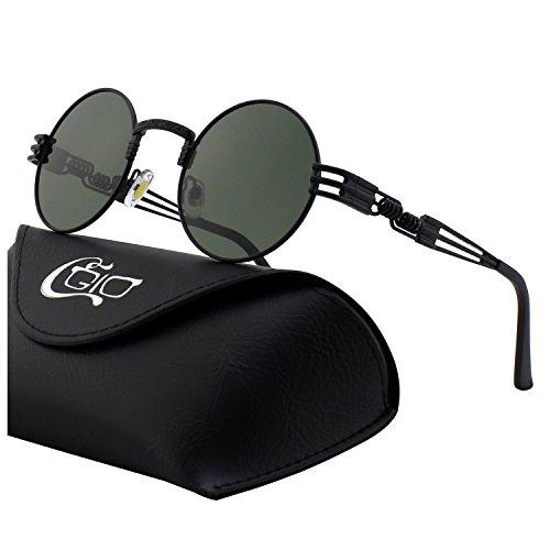 CGID E73 Retro Steampunk Style Inspired Round Metal Circle Polarized Sunglasses for Women ()