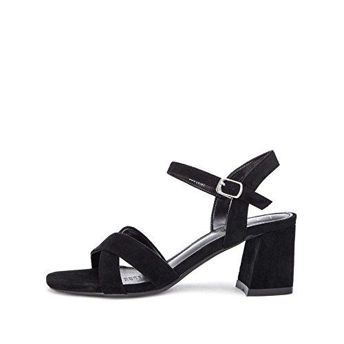 Sandali Tacchi estivi moda a casual donna Pantofole DHG basso Sandali tacco alti Sandali da alla basso con 34 Nero tacco piatti dqxTnC