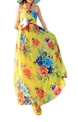Vestito Cut Xiang Floreale Maniche Out Senza Donna Ru Yellow 5qRSgTxw6