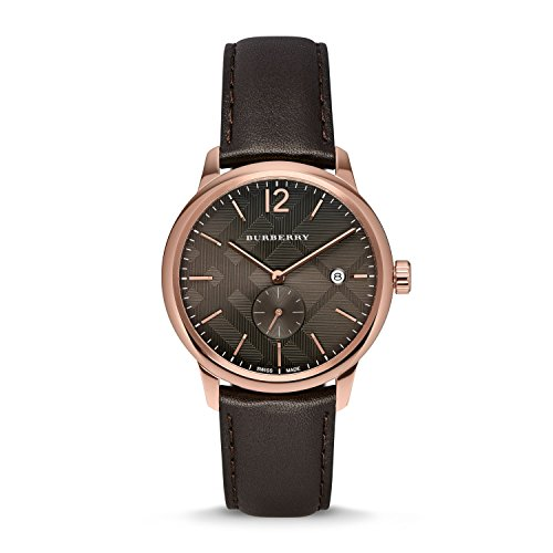 Burberry Men's BU10012 Check Stamped Round Dial Watch, 40mm - Chocolate Brown/ Rose ()