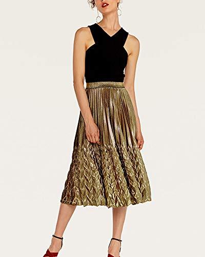 Jupes Jupe Mengmiao Vintage Haute Chic Longue Taille Or Plisse Femme UwdwYR
