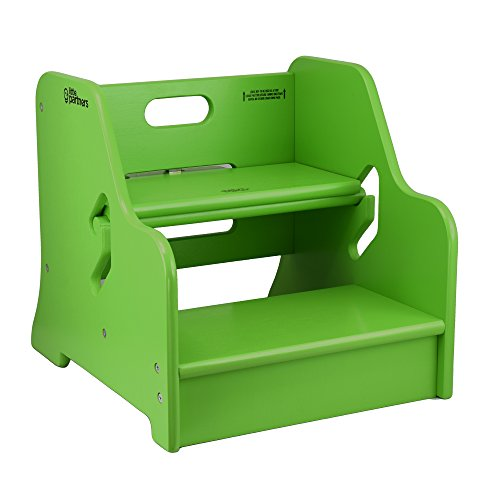 Little Partners Toddler Step Up Stool | 2 Step Adjustable Height for Kitchen, Bathroom or Nursery (Apple Green)