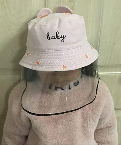 漁師帽 子供 ウイルス対策 花粉症対策 飛沫を防ぐ 防塵 保護フィルム フェイスカバー 紫外線対策 UVカット かわいい 男女兼用 日除け帽子 (Baby刺繍 ピンク)