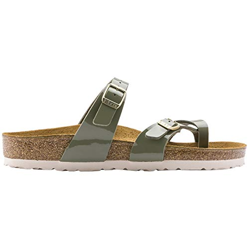 Birkenstock Womens Mayari Strappy Birko-Flor Twin Buckle Patent Sandals - Khaki - US8/EU39 - Khaki Mens Sandals