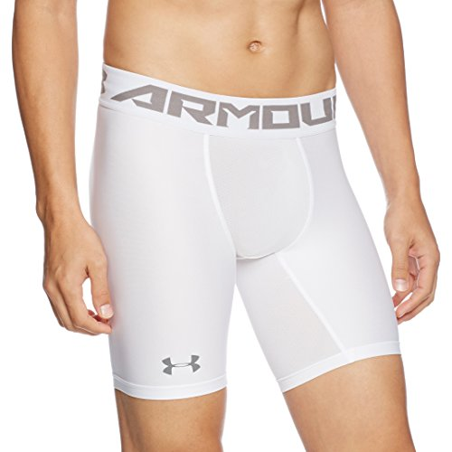 Under Armour Men's HeatGear Armour Mid Compression Shorts, White/Graphite, Medium