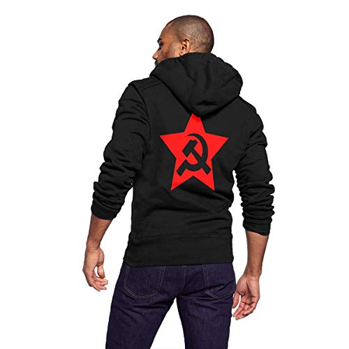 Sportswear Full Zip Up Club Fleece Hoodie Midweight Zip Front Hooded Sweatshirt Jacket for Men Man - Hammer Sickle in Star -