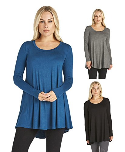 3 Pack : Free to Live Women's Loose Flare Fit Extra Long Tunics
