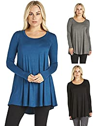 3 Pack: Free to Live Women's Loose Flare Fit Extra Long...