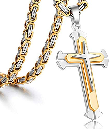 JewelBeauty Stainless Steel Mens Cross Silver Gold Pendant Necklace Byzantine Chain Necklace for Boys 5mm 18-36 Inch (20)