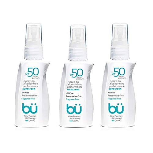 (bu SPF 50 Sunscreen Spray - Nature's Sun Block. Biodegradable. Water Resistant. TSA Approved. Vegan. Alcohol & Cruelty Free | Fragrance Free - 1 oz (3 Pack))