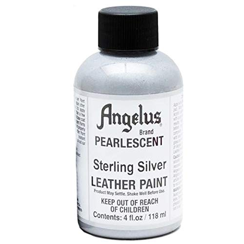 Angelus Leather Paint Pearlescent Sterling Silver, 4 Ounce jar (733-01-454)