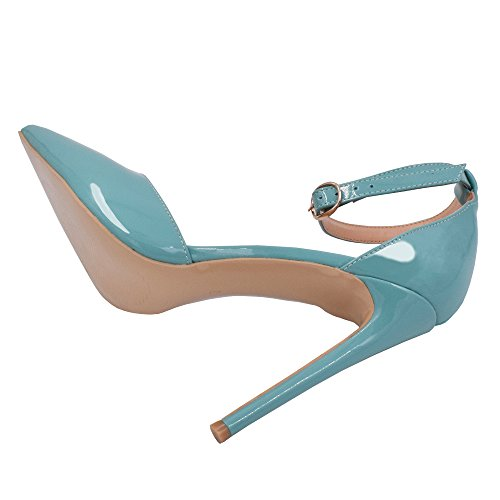 Lovirs Donna Tacco Alto Scarpe A Punta Con Cinturino Alla Caviglia Pompe A Spillo Scarpe Basic Blu Cielo