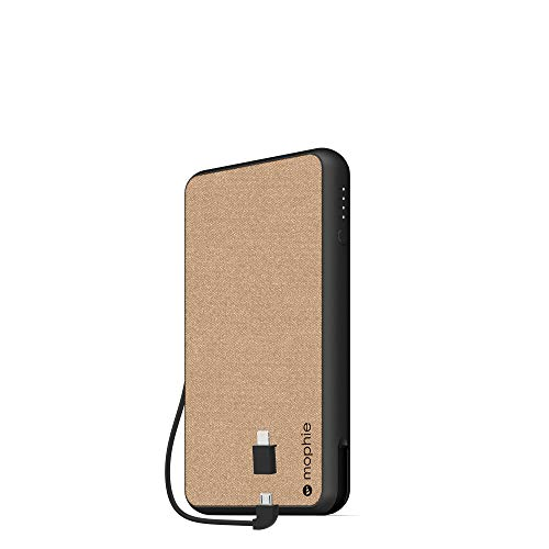 mophie powerstation Plus XL (10,000mAh) - Qi Wireless Charging with Built in Micro USB and Lighning Cables - Khaki (Mophie Backup Battery)