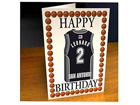 Tarjetas de cumpleaños con diseño de camiseta de baloncesto de la NBA (personalizable), color San Antonio Spurs NBA Basketball Greeting Card: Amazon.es: ...