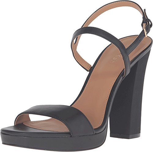 Calvin Klein Womens Bambii Leather Open Toe Casual Slingback Sandals Black Leather 4oYznlG