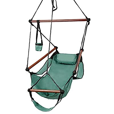 Luxurious Air Hammock Hanging Yard Tree Sky Swing Seat Outside Patio Relax Lounge Green New