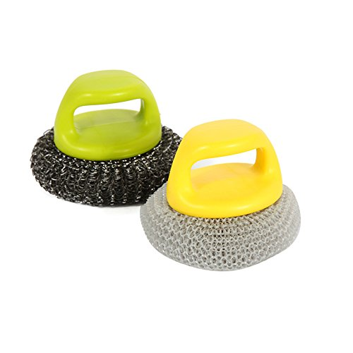 CHOOLD Stainless Sponges Scrubbers Steel Wire Wool Brush With Handle for Pot Pan Dish Bowl for Kitchen (Set of 2)