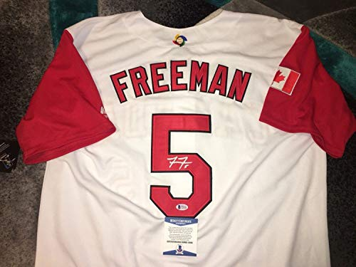 Freddie Freeman Autographed Signed 2017 World Baseball Classic Jersey Team Canada Beckett - Authentic Memorabilia