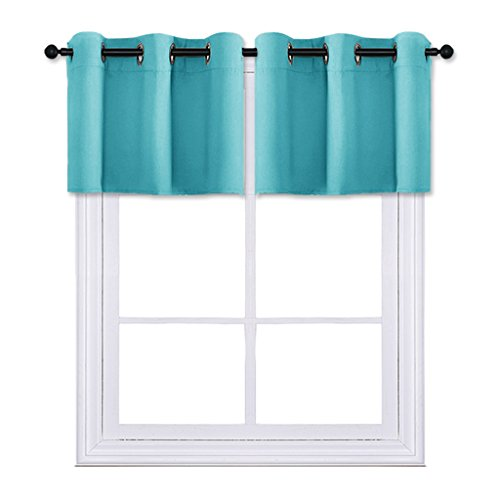 PONY DANCE Home Decor Draperies Curtain Valances Room Darkening Window Tiers Modern Design Energy Saving Bay Windows, 42 24 inch, Turquoise, Set of 2