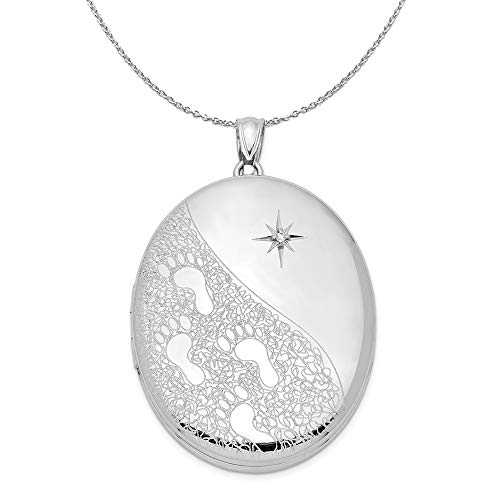 34mm Footprints and Diamond Star Oval Silver Locket Necklace - 20 -