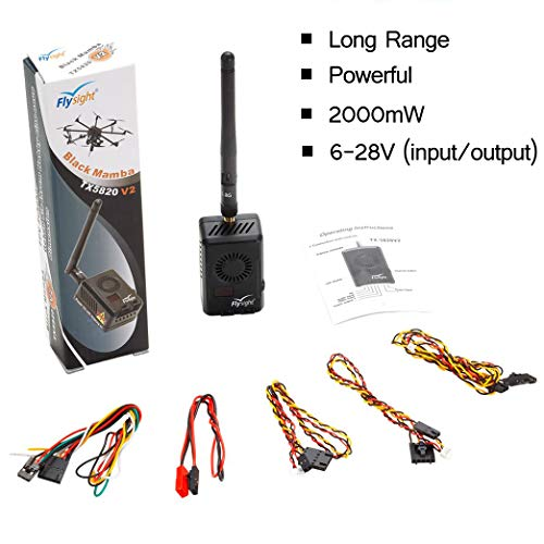Flysight Black Mamba 5.8Ghz 2W FPV Vtx Transmitter 2000mW FPV Long Range Video Transmitter Wireless 40CH RC AV Pushbutton Long Distance Transmission for Racing Drone Quadcopter (RPSMA ANT 6-28V)