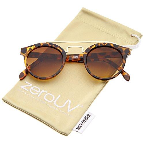 zeroUV - Small Retro Horn Rimmed Double Nose Bridge P3 Round Eyeglasses 44mm (Tortoise-Gold / - Eyeglass P3 Frames
