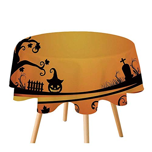 C COABALLA Vintage Halloween Polyester Round Tablecloth,Halloween Themed Image Eerie Atmosphere Gravestone Evil Pumpkin Moon Decorative for Home Restaurant,55.1