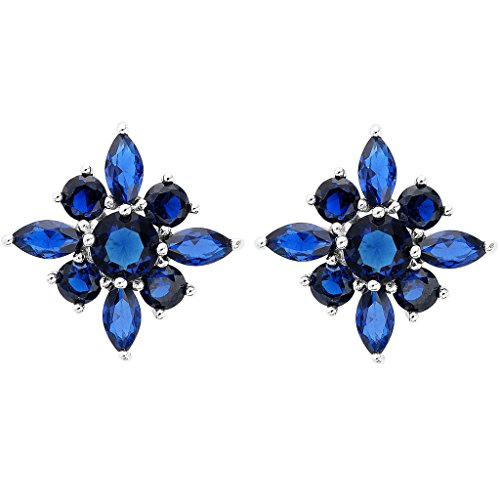 EVER FAITH 925 Sterling Silver Cubic Zirconia Gorgeous Marquise Shape Flower Stud Earrings Sapphire Color