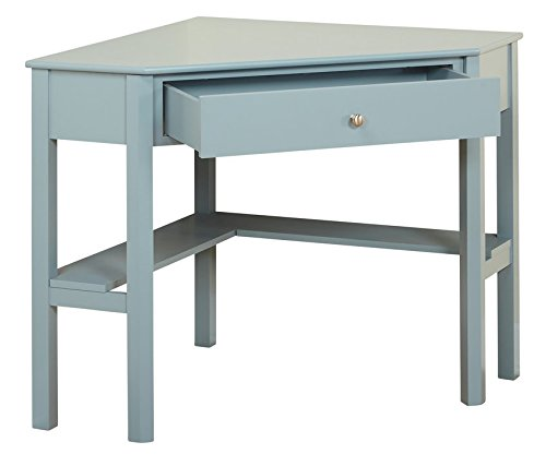 This classically styled desk utilizes a small space for a big impact, with stylish under-desk shelving and a drawer to hide clutter. Simple Living Wood Corner Computer Desk (Antique Blue)