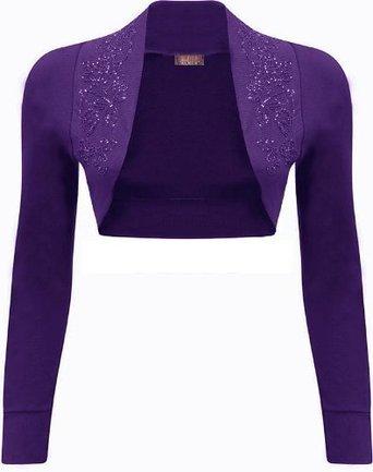 Mix lot nuevas señoras de moda de lujo de manga larga encogimiento de hombros de cuentas bolero superior diferentes colores más tamaño casual / fiesta de tamaño desgaste 36-42 púrpura