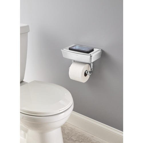 Delta Porter Polished Chrome Toilet Paper Holder with Mobile Phone Storage