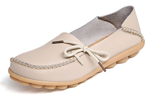 VenusCelia Women's Comfort Walking Office Flat Loafer(7.5 B(M) US,beige - Comfort Womens Shoes Loafer