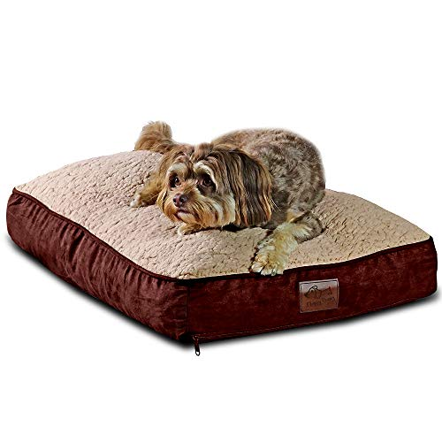 Floppy Dawg Medium Dog Bed with Removable Cover and Waterproof Liner | Perfectly Stuffed To 4 Inches High with Memory Foam Pieces To Accommodate the Natural Digging Instinct | For Dogs 10 To 40 Pounds