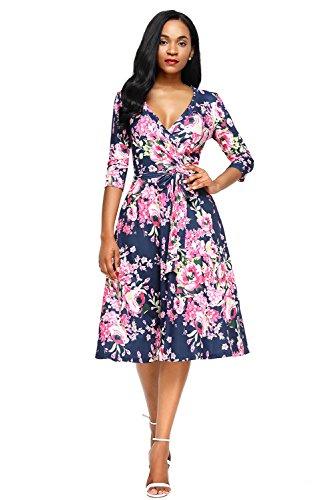 Papaya Floral Mid Sleeve Blossom Dresses