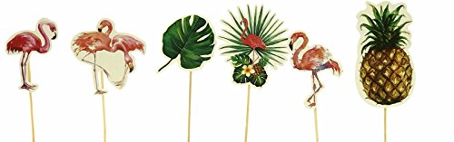 Palm Leaves Pink Flamingo Party Cupcake Toppers Luau Decorations, Set of 12