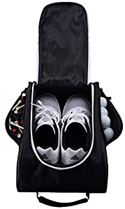 Athletico Golf Shoe Bag - Zippered Shoe Carrier Bags With Ventilation & Outside Pocket for Socks, Tees, etc.