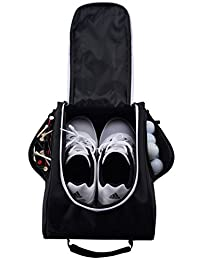 Athletico Golf Shoe Bag - Zippered Shoe Carrier Bags Ventilation & Outside Pocket Socks, Tees, etc.