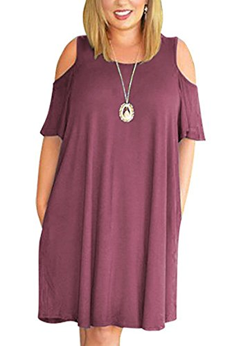 7add39f7636a0 Alaroo Womens Loose T Shirt Dress Short Sleeve Casual Swing Dresses Violet  Red XXL. Maternity Uniform