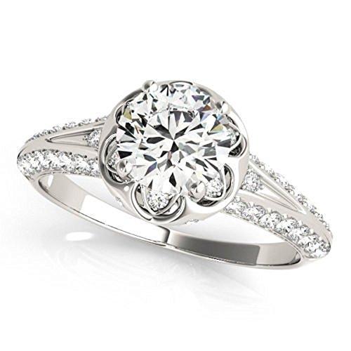 Nice 0.92 ct J-K Moissanite Engagement wedding Ring 925 Sterling Silver by MoissaniteMart