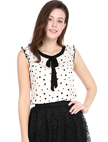(Allegra K Women's Ruffled Sleeveless Tie-Bow Chiffon Dot Prints Blouse XL White)