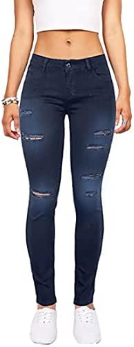Wax Women's Juniors Mid-Rise Skinny Jegging Jeans w Distressing