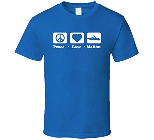 Sunshine T Shirts Peace Love Malibu Cool Boat Lover Fun Retro Summer T Shirt Xl Royal Blue