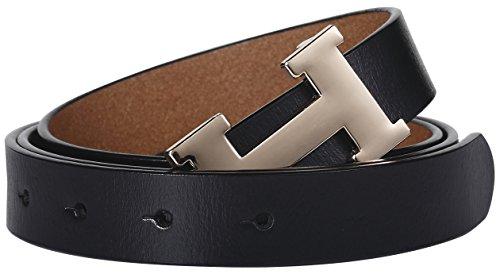 Ladies Slim Belt - Fashion H-Style Slim Belt for Women Lady [2.5 CM width] (Black, 115cm (Waist 34