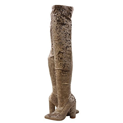 Cape Robbin Paw 27 Womens Pointy Toe Thigh High Boots Grey Velvet 4Tp8kGq